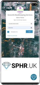 Mobile phone displaying the SPHR software developed by Life Group