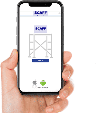 Hand holding a phone displaying the bespoke Scafflife app built by Life Group.
