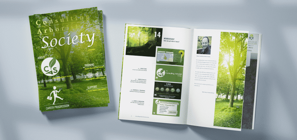 Example of physical and digital magazines designed by Life Group for the Consulting Arborist Society