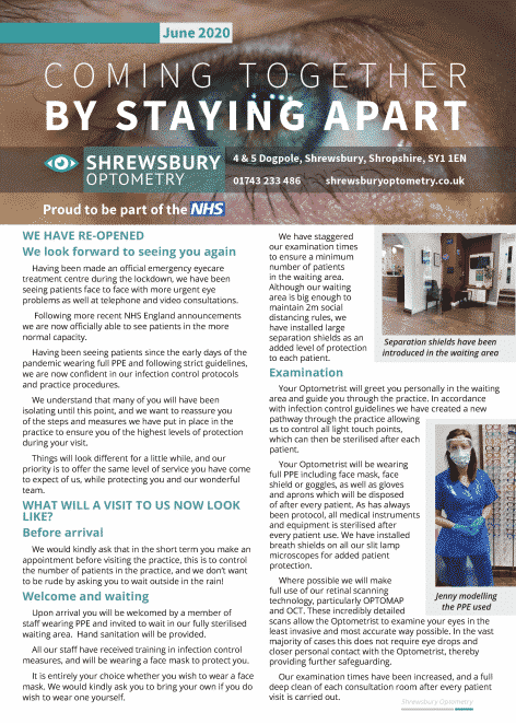 Example newsletter designed by Life Group for Shrewsbury Optometry