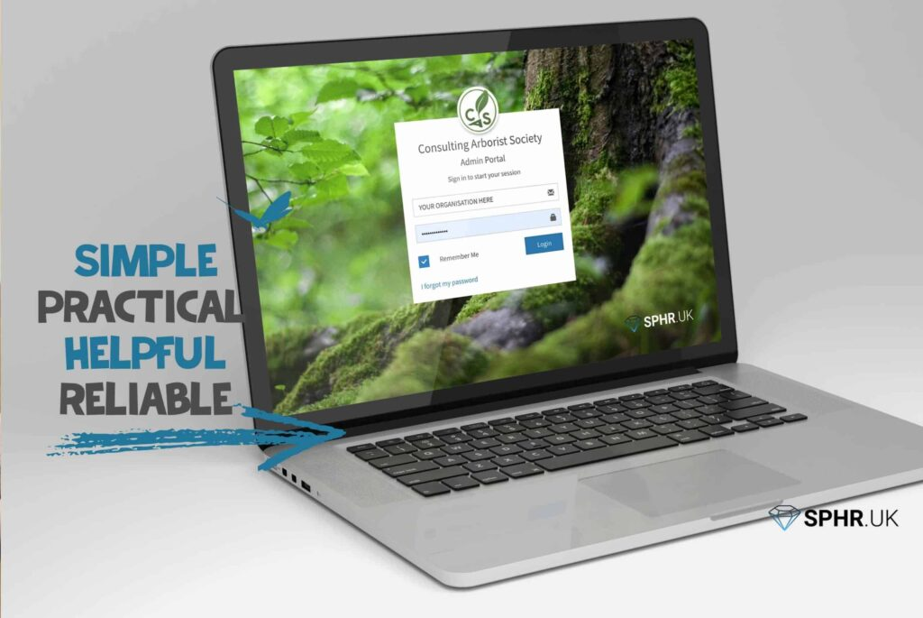 Laptop displaying the SPHR software developed by Life Group